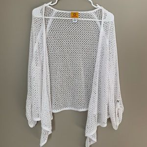 RUBY RD. Crocheted Style Waterfall Cardigan White